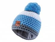 Wollmütze blau-weiß mit Fleece